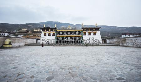 a temple at longwu tibetan monastery