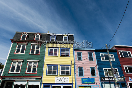 bright coloured buildings in a row