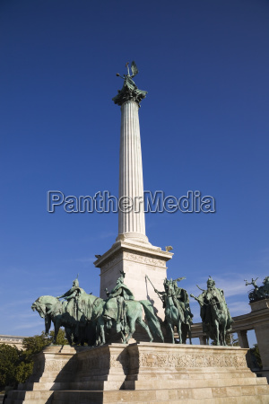 monument at heros square budapest hungary