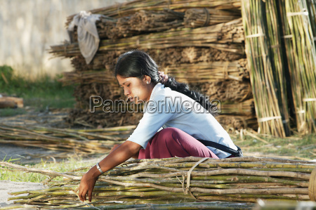 young woman tying bundles of sticks