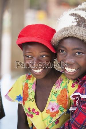 girls wearing hats manica mozambique africa