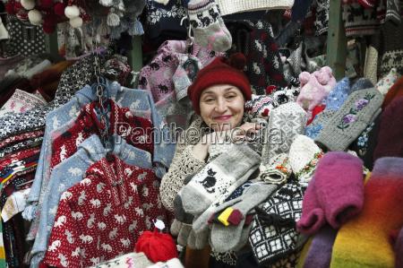 woolen souvenir vendor in tallinn estonia