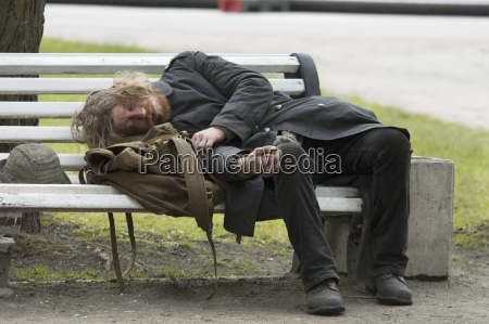 drunk man on a park bench