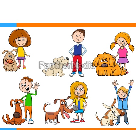children with dogs cartoon set