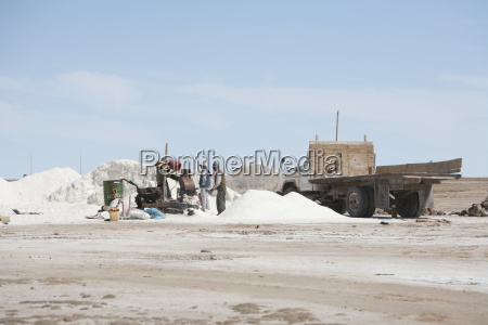 people packaging salt from the salar
