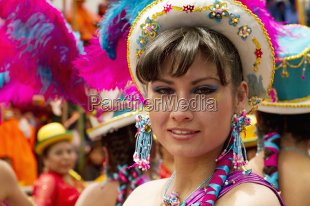 morenada dancer in the procession of