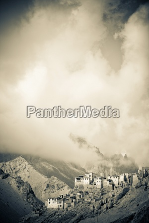 lamayuru monastery sits amid a mountain