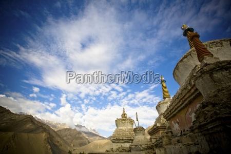 monastery sits amid a mountain range