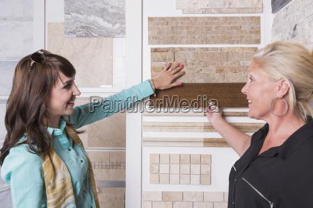 design consultant and interior designer selecting