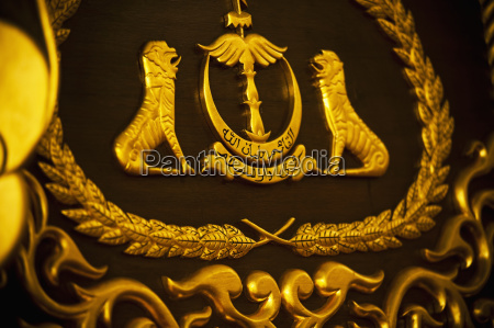close up of emblem in royal