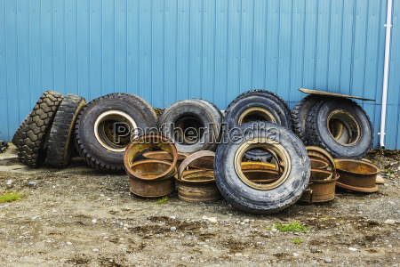 a row of used tires and