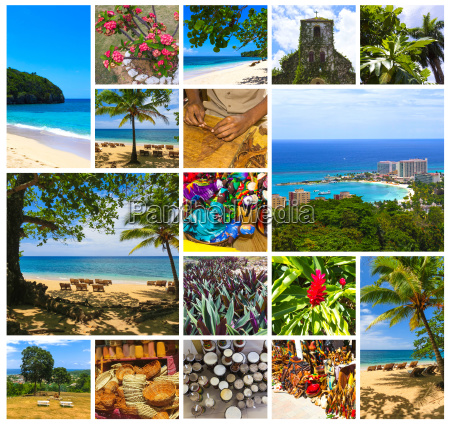 collage about jamaica caribbean island