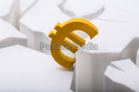 euro currency symbol on cracked white