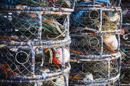 stacked fishing gear in bodega bay