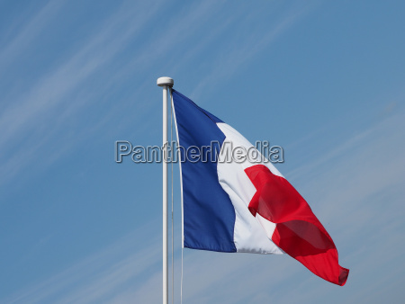 french flag of france over blue