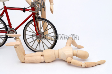 bicycle and person collision accident on