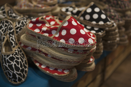 polka dot and animal pattern espadrilles