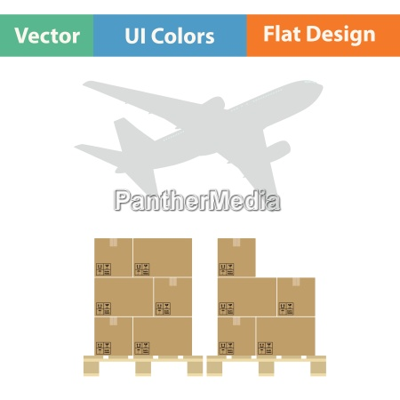 boxes on pallet under airplane