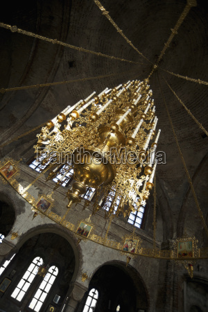 low angle view of chandelier at