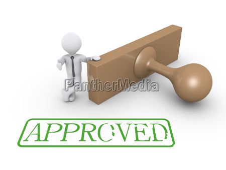 3d businessman with approved stamp