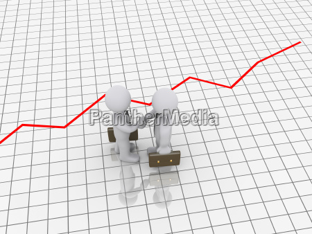 3d businessmen deal on graphic chart