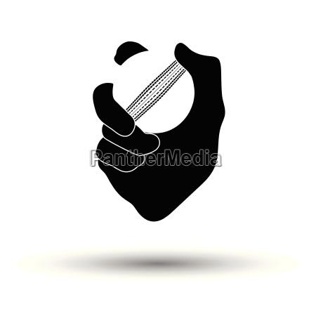 hand holding cricket ball icon