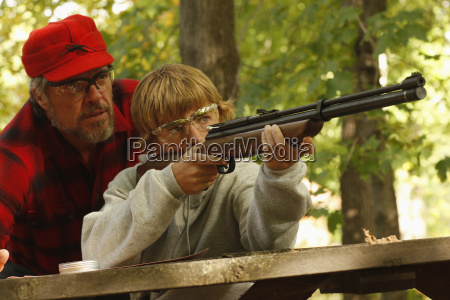 father and son target practice