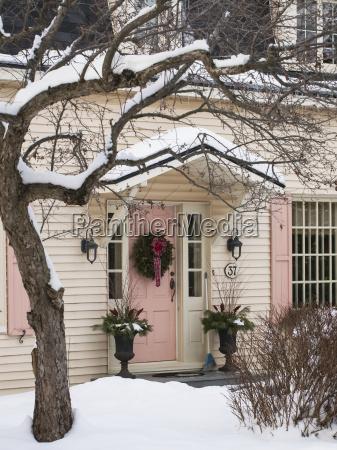 christmas wreath on front door of