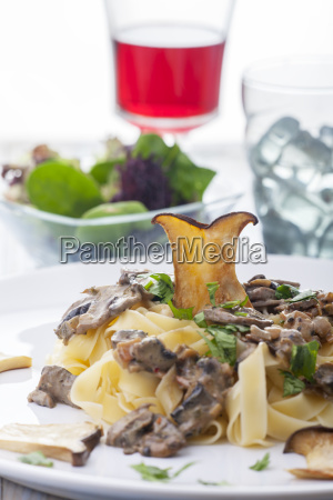 pasta with mushroom sauce on a
