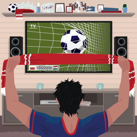 football fan rejoices at the goal