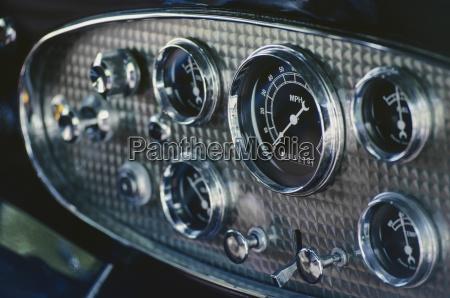 dashboard of an antique car