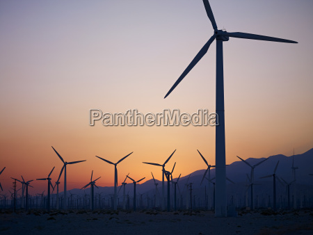 silhouette of wind turbines in a
