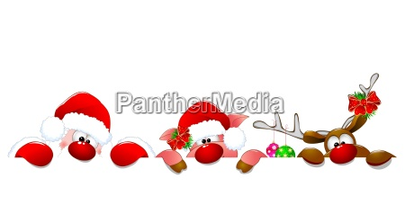 santa claus deer and piglet