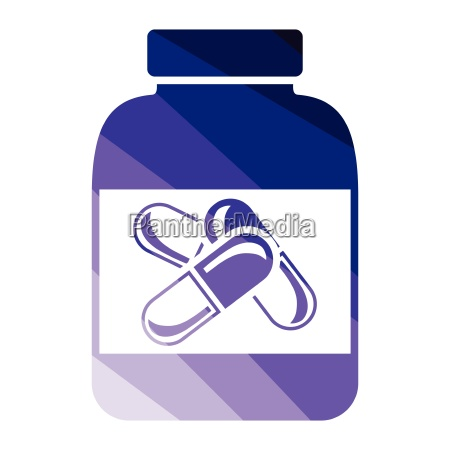 fitness pills in container icon