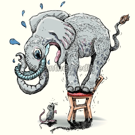 elephant with a big fear of