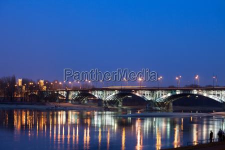 poniatowski bridge by night in poland