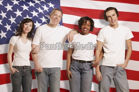 people in front of american flag