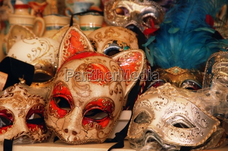 masks on display in shop venice