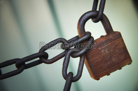 a padlock and chains