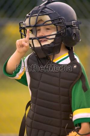 portrait of boys little league baseball