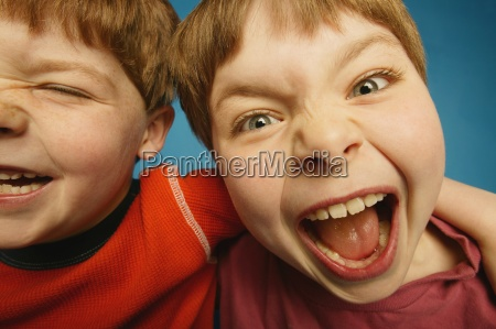 two young friends having a blast