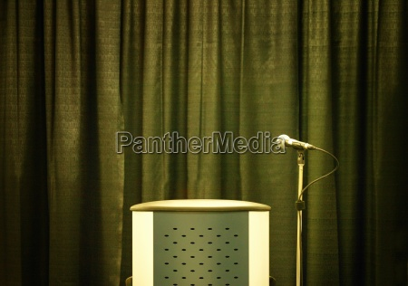 rostrum and microphone on stand