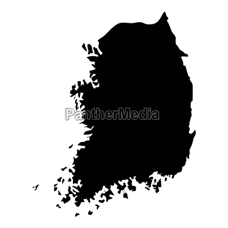 map of south korea icon black