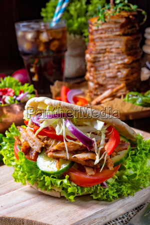 crunchy pita with grilled gyros meat