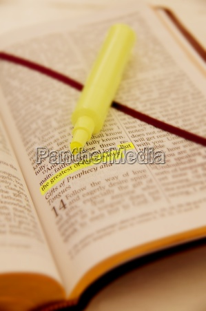 a highlighted sentence in the bible