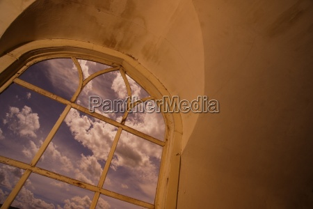 church window framing the sky