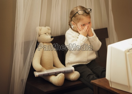 child watching something frightening on tv