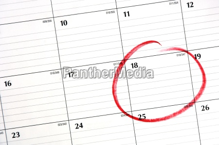 calendar with date circled in red