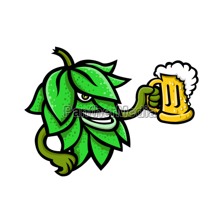 hops drinking beer mascot