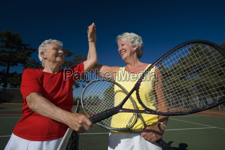 at the tennis court